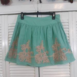 Dejavu silk applique skater skirt medium *8